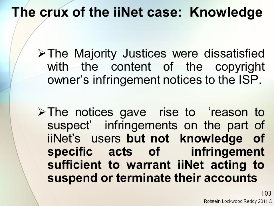 The crux of the iiNet case: Knowledge