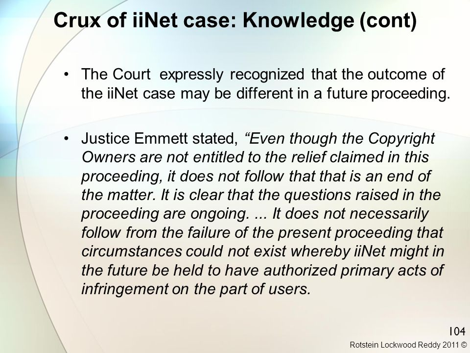 Crux of iiNet case: Knowledge (cont)