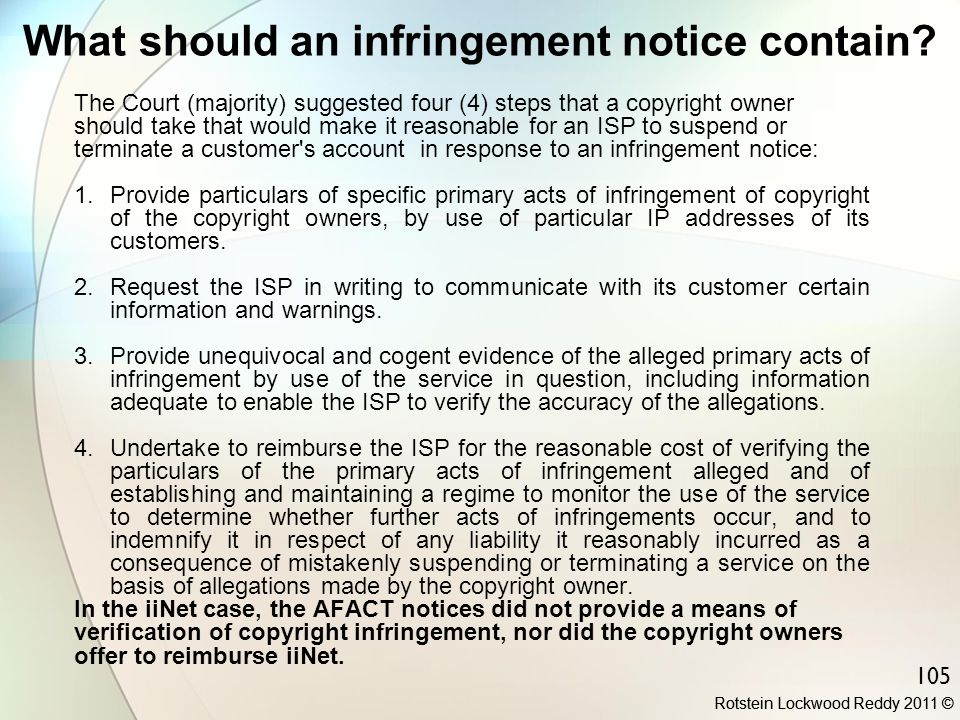 What should an infringement notice contain
