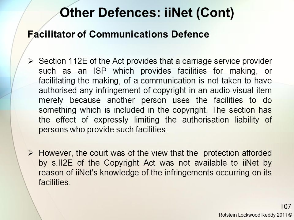 Other Defences: iiNet (Cont)