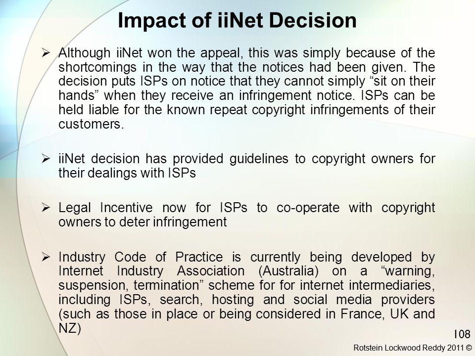 Impact of iiNet Decision