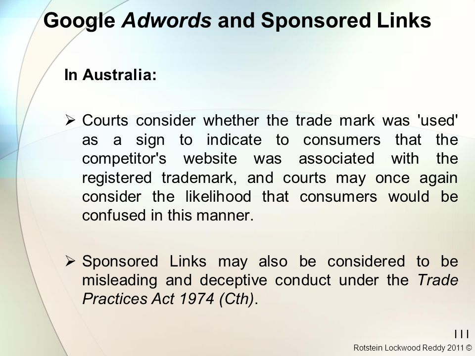 Google Adwords and Sponsored Links