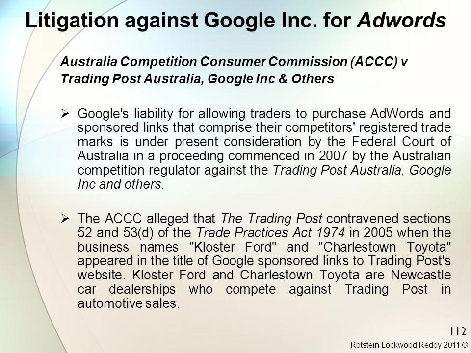 Litigation against Google Inc. for Adwords