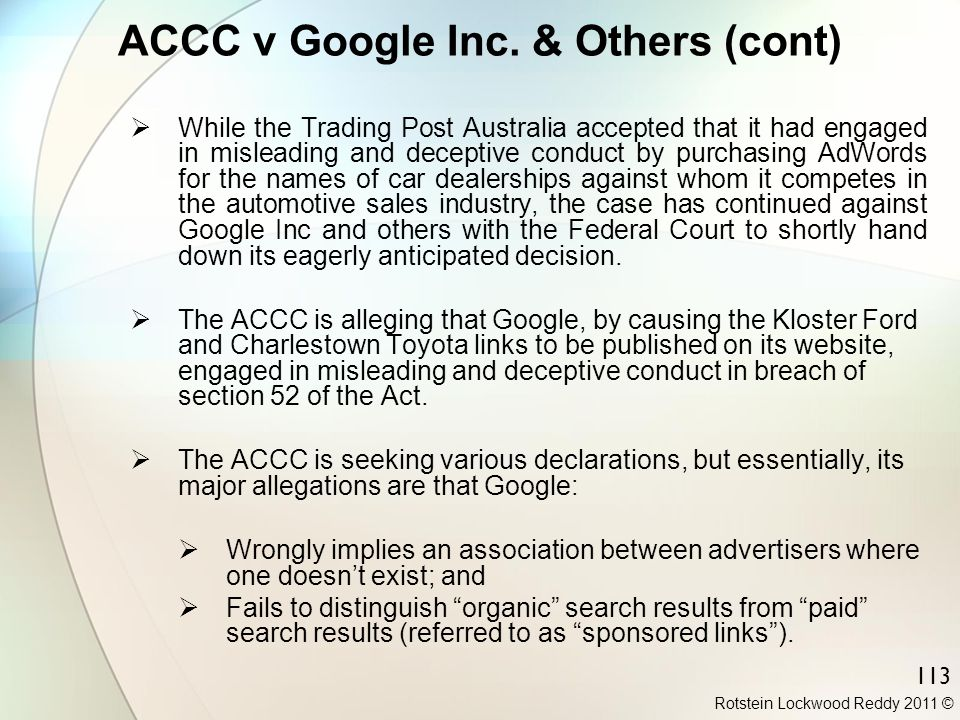 ACCC v Google Inc. & Others (cont)