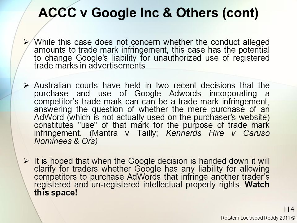 ACCC v Google Inc & Others (cont)