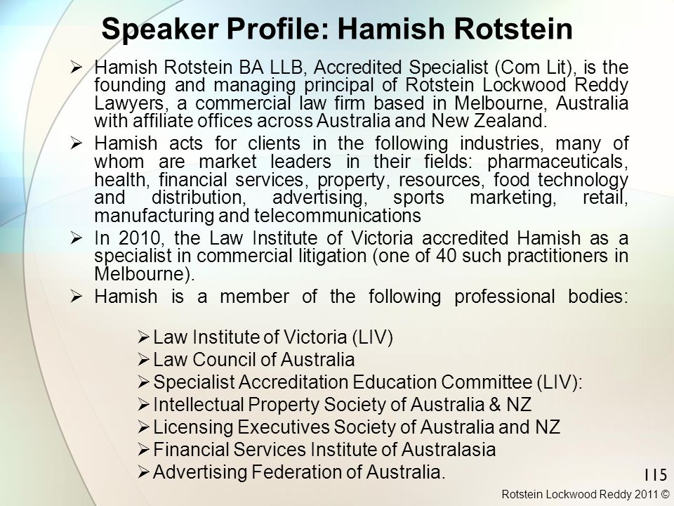 Speaker Profile: Hamish Rotstein