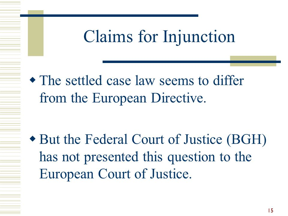 Claims for Injunction The settled case law seems to differ from the European Directive.