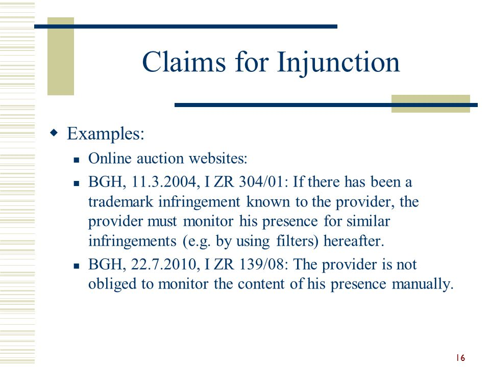 Claims for Injunction Examples: Online auction websites:
