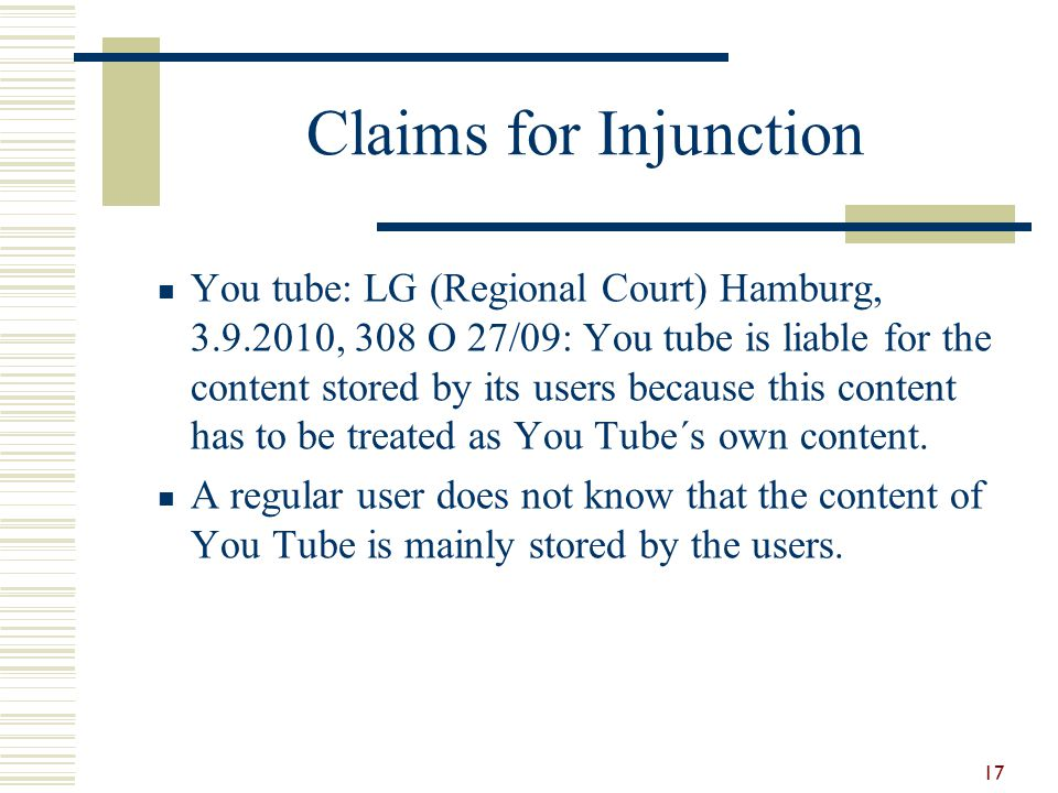 Claims for Injunction