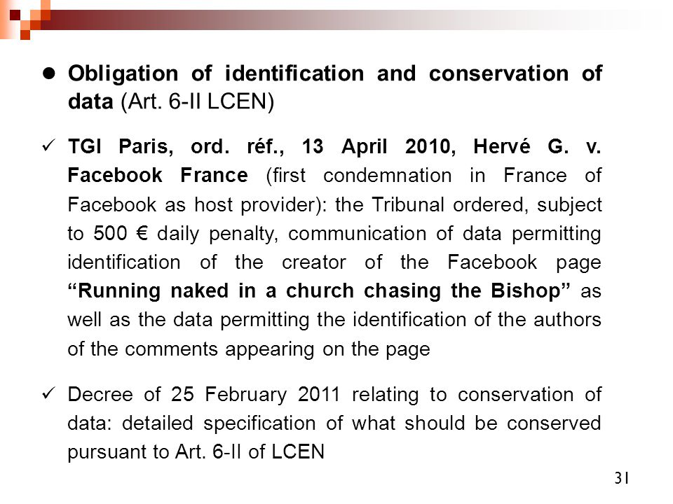 Obligation of identification and conservation of data (Art. 6-II LCEN)