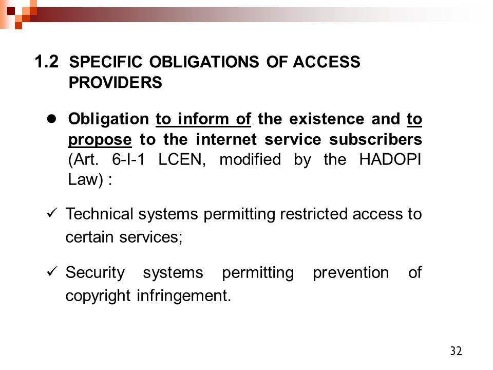 1.2 SPECIFIC OBLIGATIONS OF ACCESS PROVIDERS