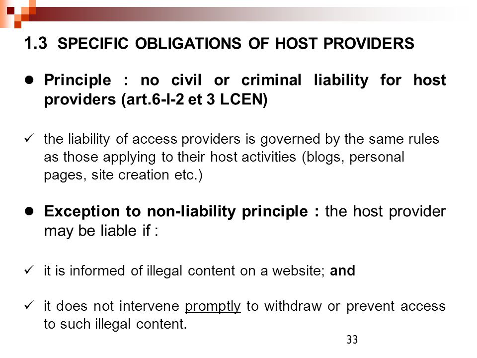 1.3 SPECIFIC OBLIGATIONS OF HOST PROVIDERS