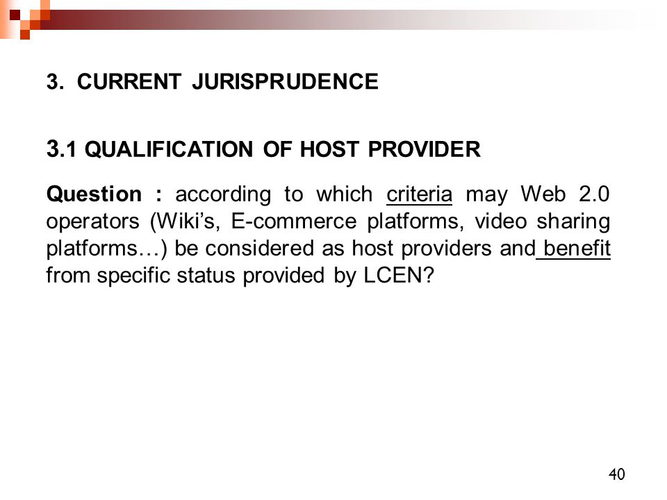 3.1 QUALIFICATION OF HOST PROVIDER