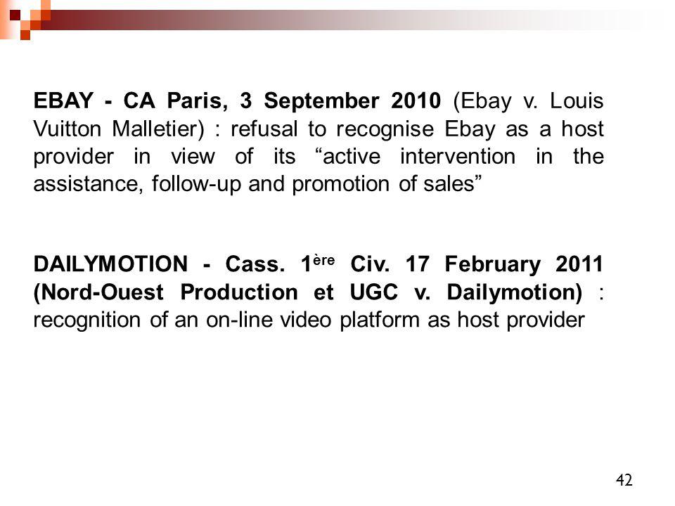 EBAY - CA Paris, 3 September 2010 (Ebay v