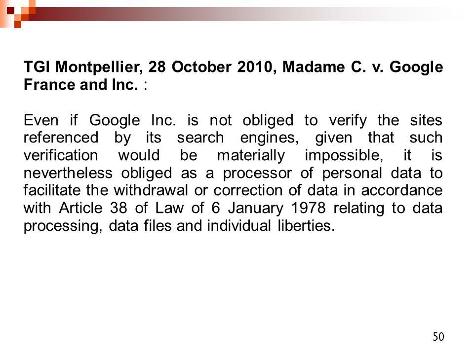 TGI Montpellier, 28 October 2010, Madame C. v. Google France and Inc. :