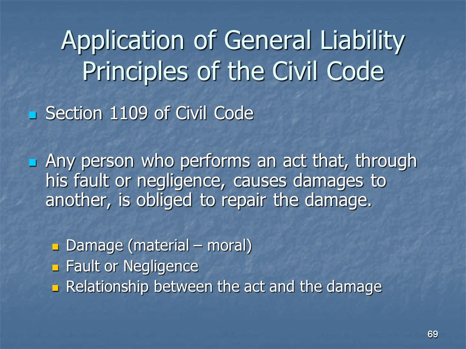 Application of General Liability Principles of the Civil Code