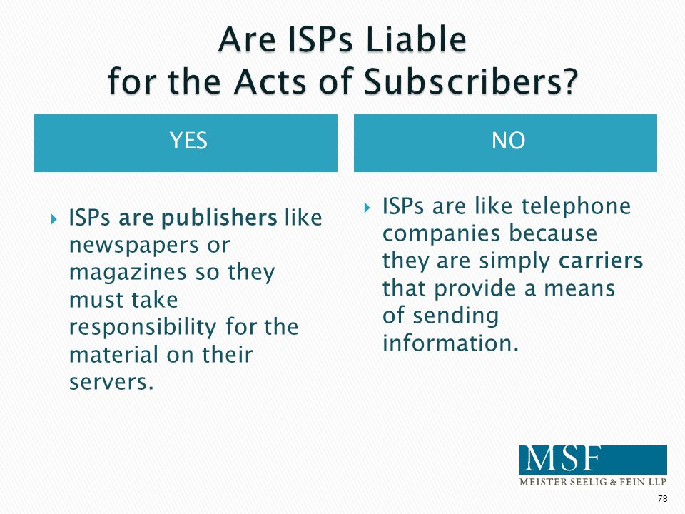 Are ISPs Liable for the Acts of Subscribers