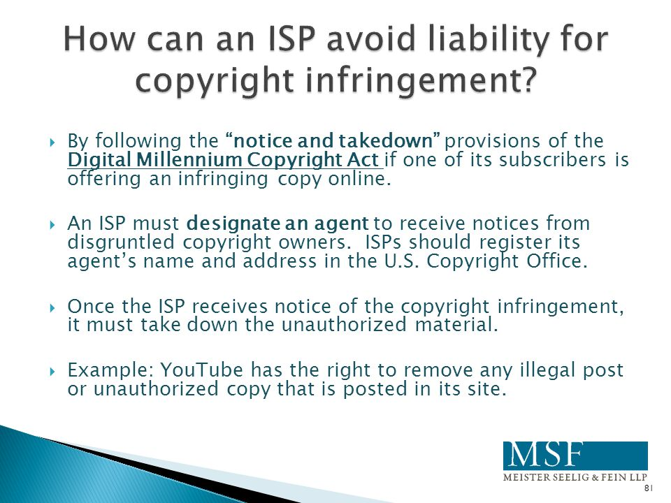 How can an ISP avoid liability for copyright infringement