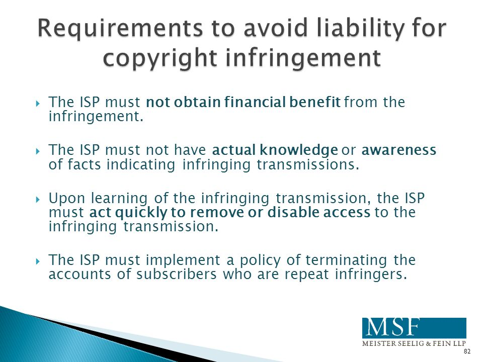 Requirements to avoid liability for copyright infringement