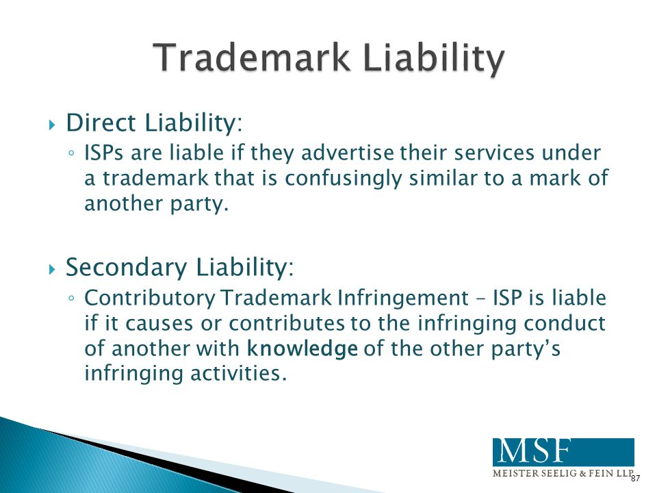 Trademark Liability Direct Liability: Secondary Liability: