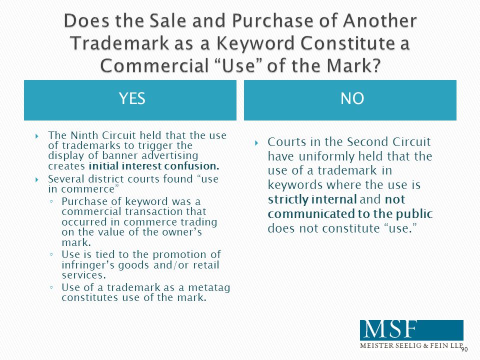 Does the Sale and Purchase of Another Trademark as a Keyword Constitute a Commercial Use of the Mark