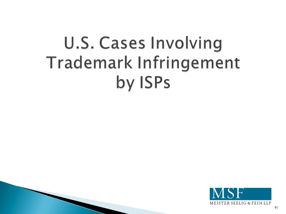 U.S. Cases Involving Trademark Infringement by ISPs