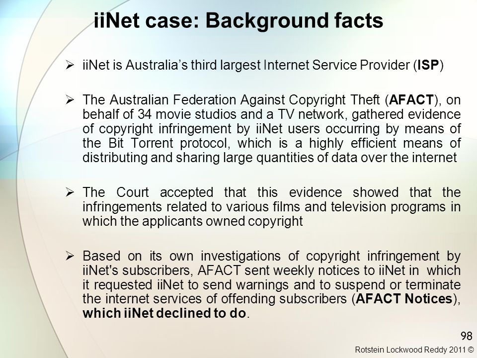 iiNet case: Background facts