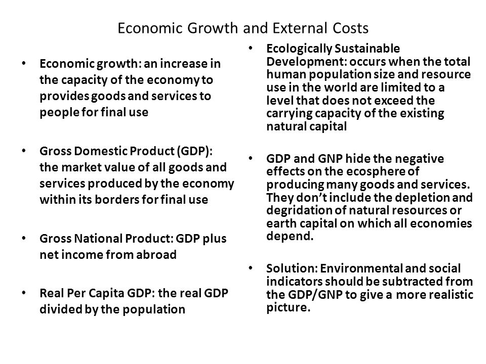 Economic Growth and External Costs