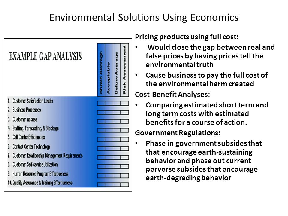 Environmental Solutions Using Economics
