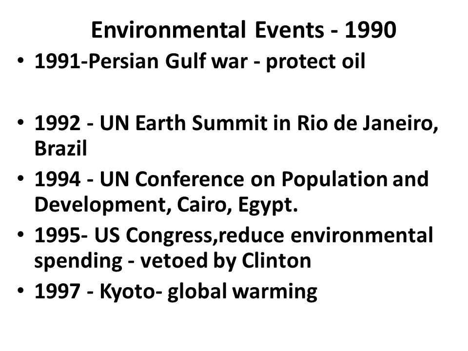 Environmental Events - 1990