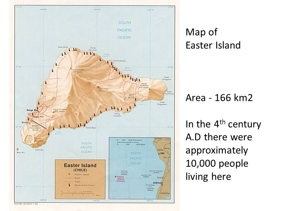 Map of Easter Island Area - 166 km2 In the 4th century A