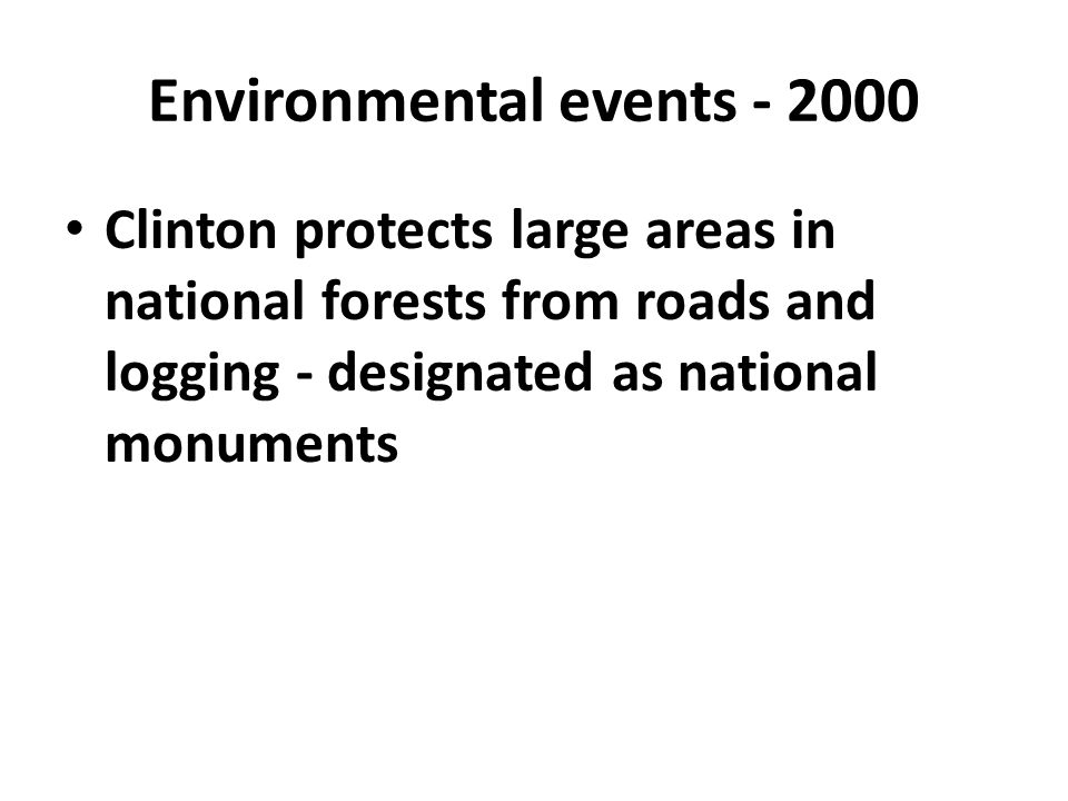Environmental events - 2000