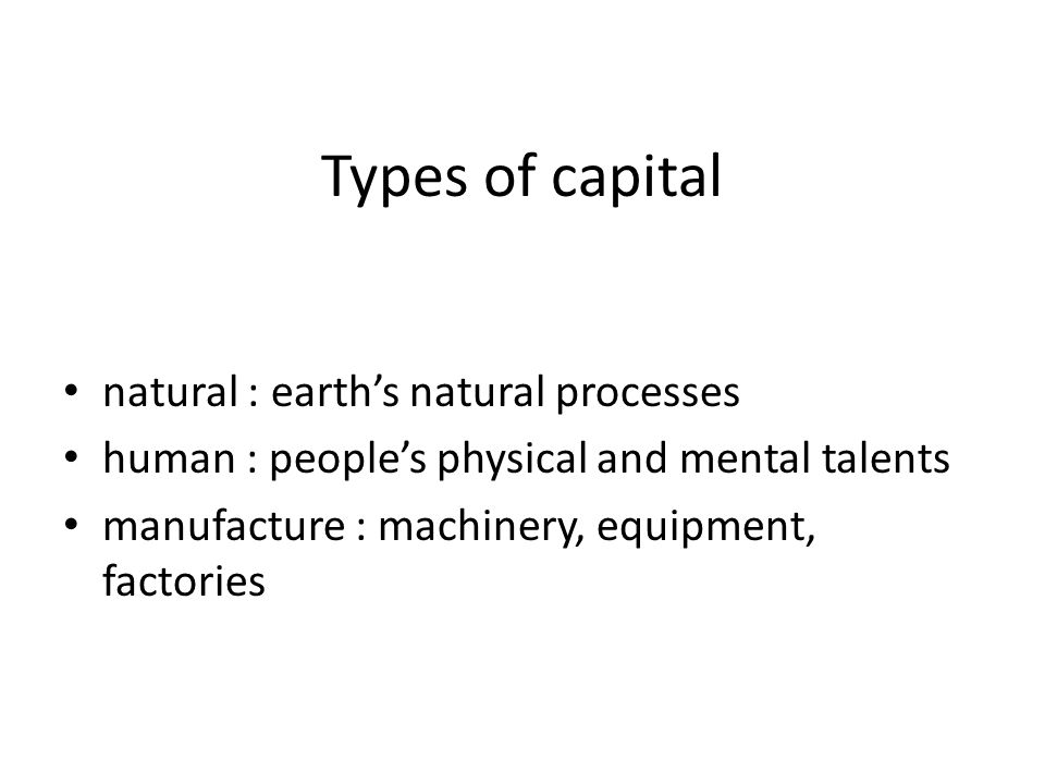 Types of capital natural : earth's natural processes