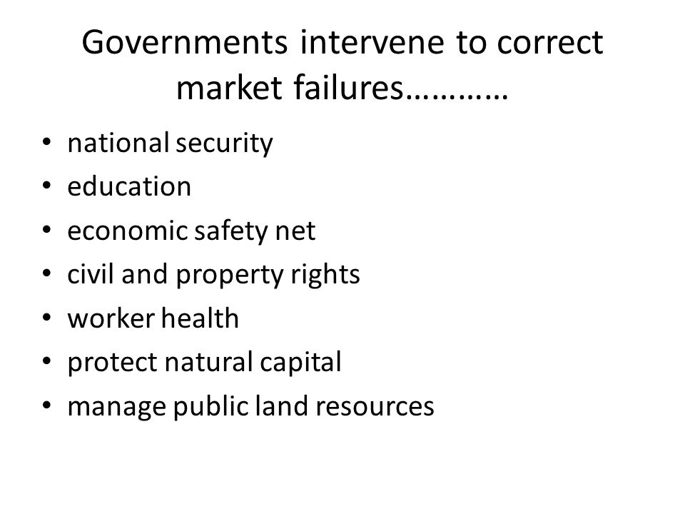 Governments intervene to correct market failures…………