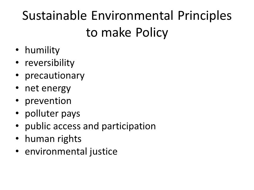 Sustainable Environmental Principles to make Policy