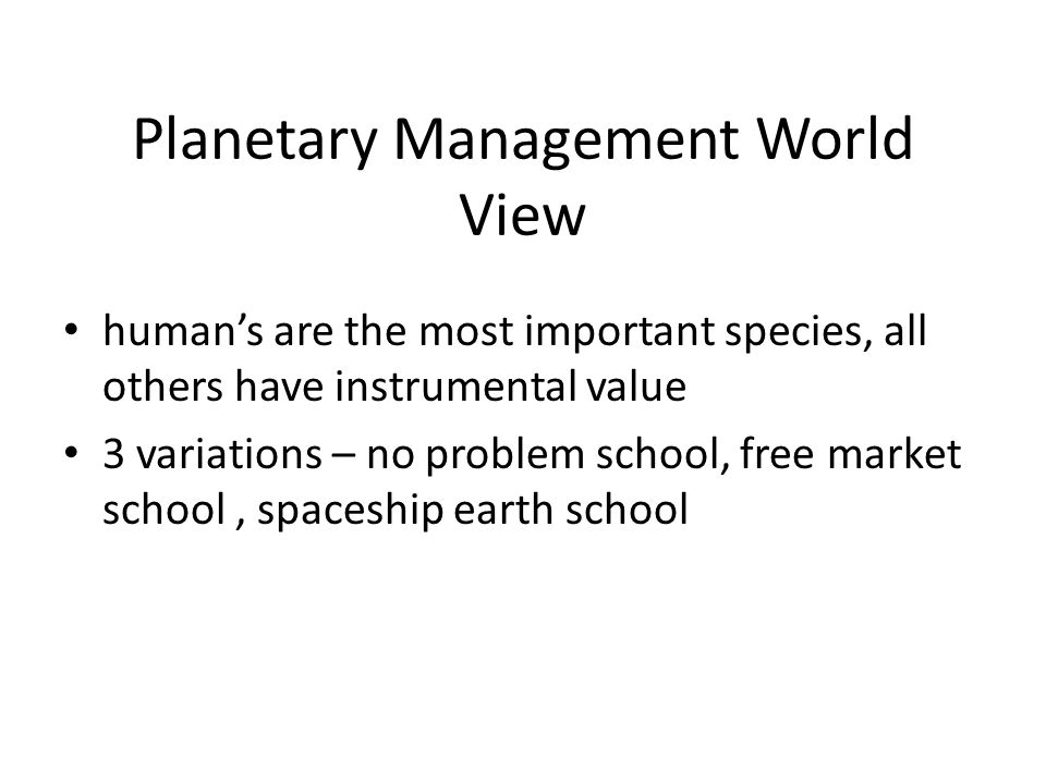 Planetary Management World View