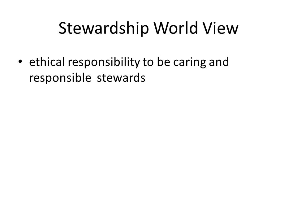 Stewardship World View