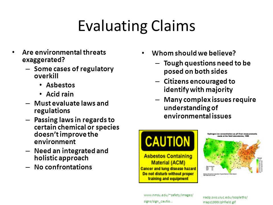 Evaluating Claims Are environmental threats exaggerated