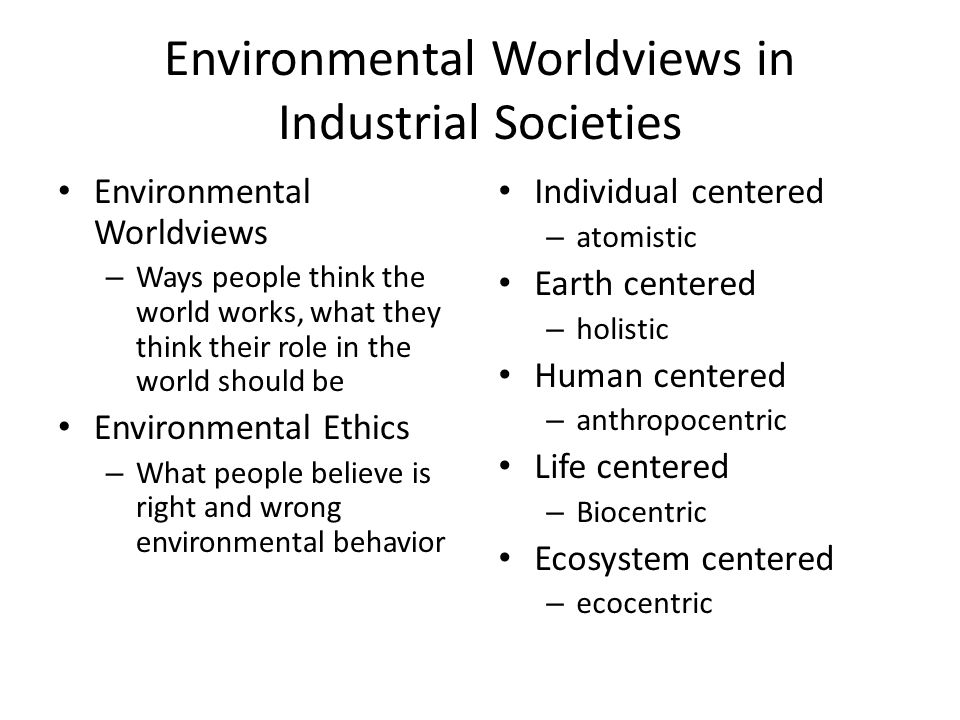 Environmental Worldviews in Industrial Societies