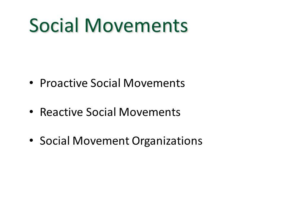 Social Movements Proactive Social Movements Reactive Social Movements