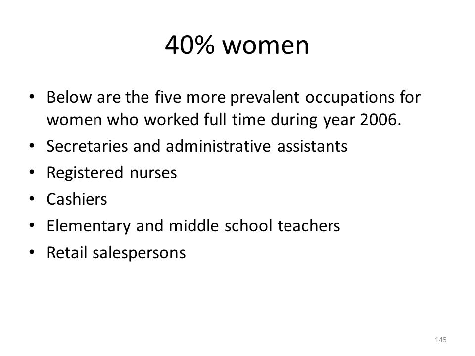 40% women Below are the five more prevalent occupations for women who worked full time during year 2006.
