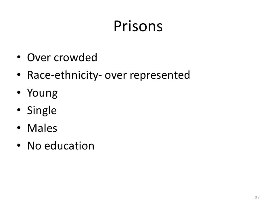 Prisons Over crowded Race-ethnicity- over represented Young Single