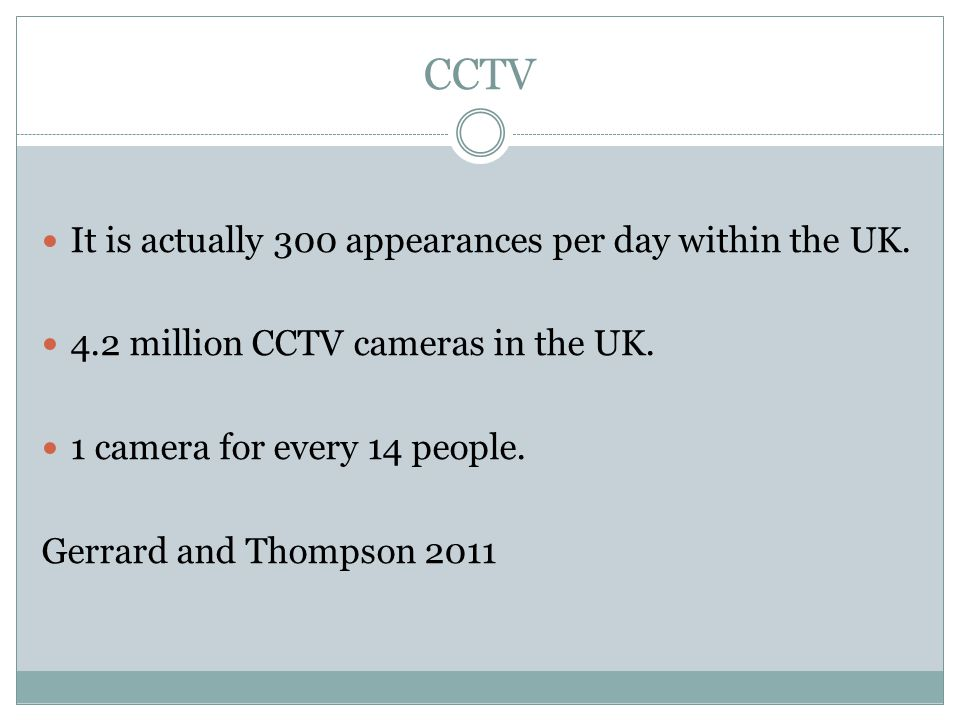CCTV It is actually 300 appearances per day within the UK.