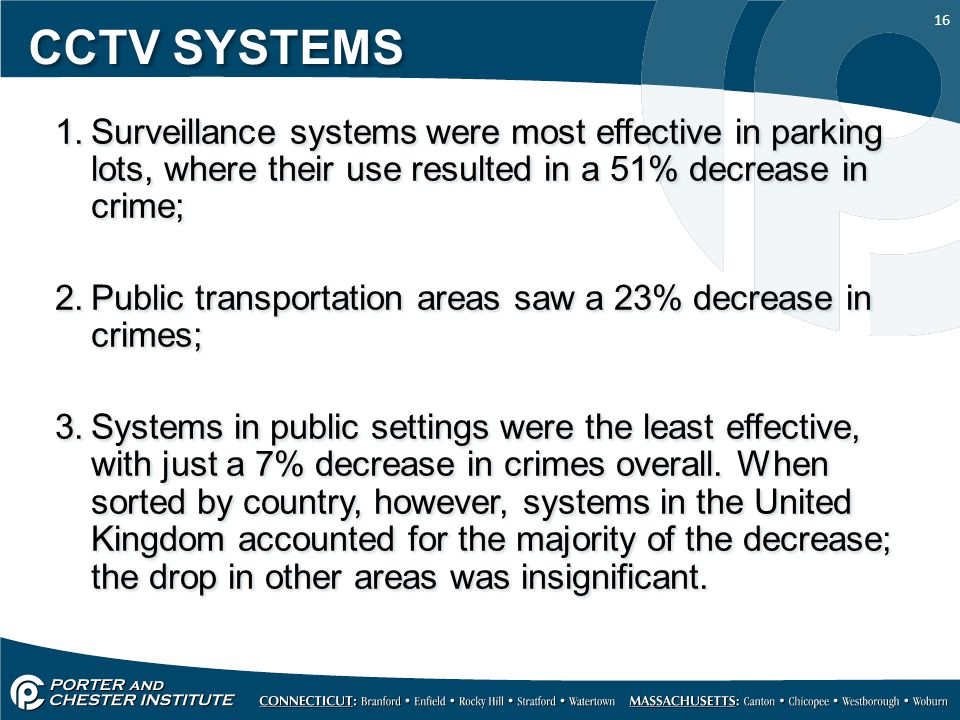 CCTV SYSTEMS Surveillance systems were most effective in parking lots, where their use resulted in a 51% decrease in crime;