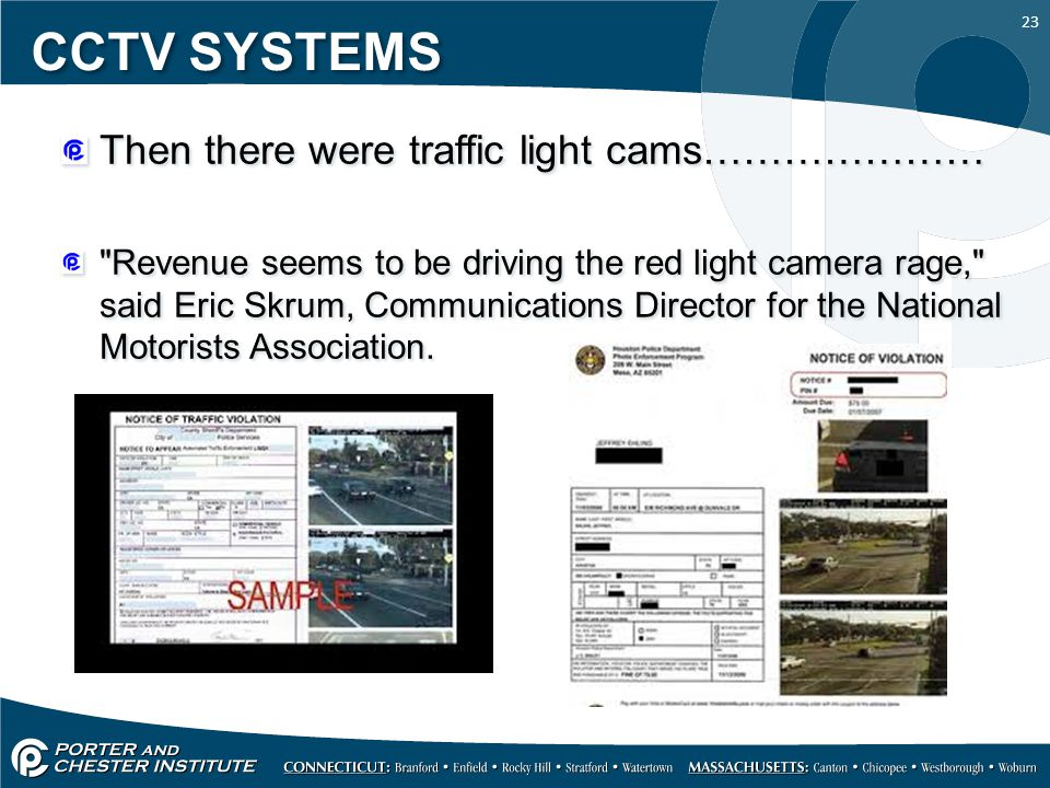 CCTV SYSTEMS Then there were traffic light cams…………………