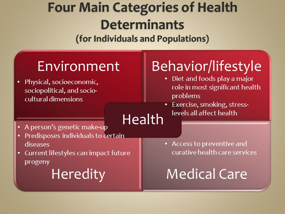 Four Main Categories of Health Determinants (for Individuals and Populations)