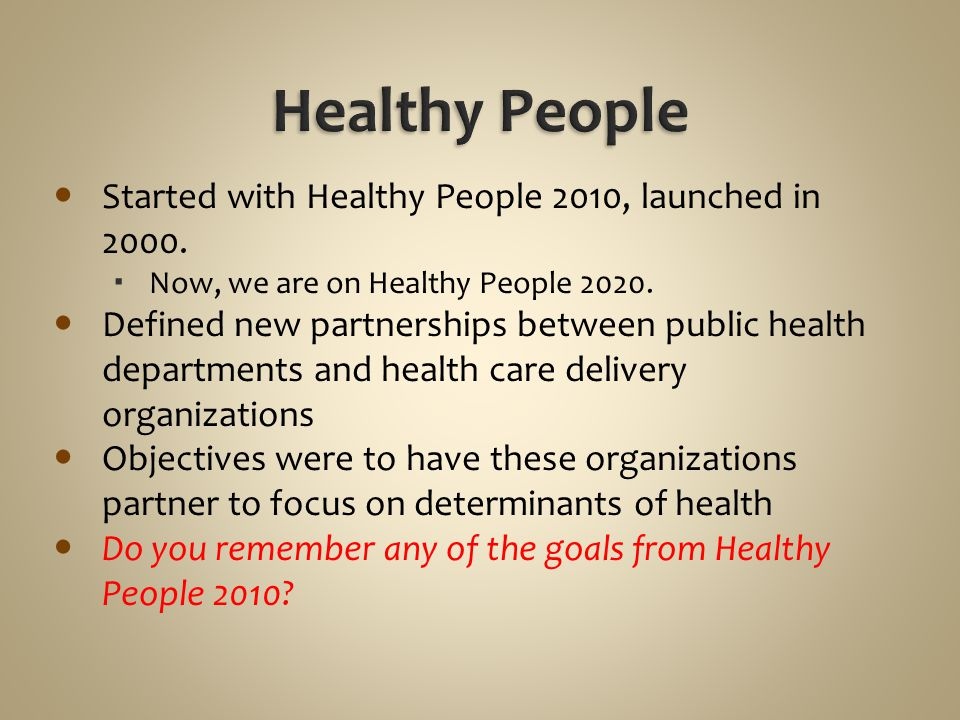 Healthy People Started with Healthy People 2010, launched in 2000.