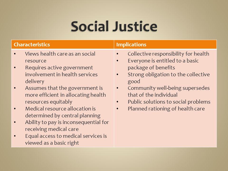 Social Justice Characteristics Implications