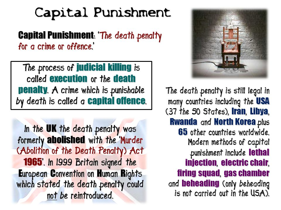 Capital Punishment Capital Punishment: 'The death penalty for a crime or offence.'