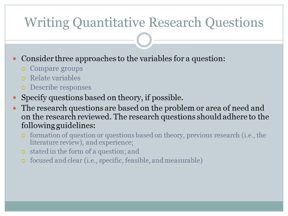 Writing Quantitative Research Questions